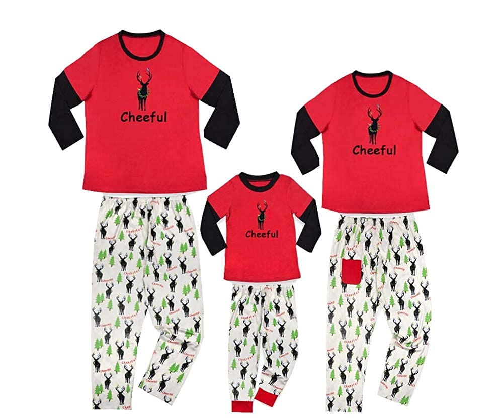 Family Pajamas Sets O Neck Elk Print Long Sleeve Tops and Tree Deer Print Long Pants Trousers Homewear Set