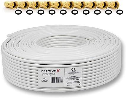 PremiumX - 50m PROFI Sat cable coaxial Cable COAX PURE COBRE 135dB ...