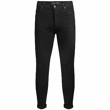Mens Skinny Fit Jeans in Black Charcoal Regular Leg Genetic Apparel Designer New