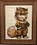 Steampunk Fox Bedroom Nursery Dictionary Book Page Artwork Print Picture Poster Home Office Bedroom Wall Decor - unframed