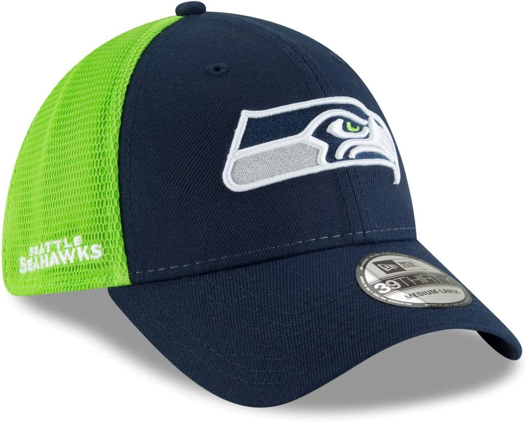 New Era Seattle Seahawks NFL 39THIRTY 2T Sided Flex Fit Meshback Hat