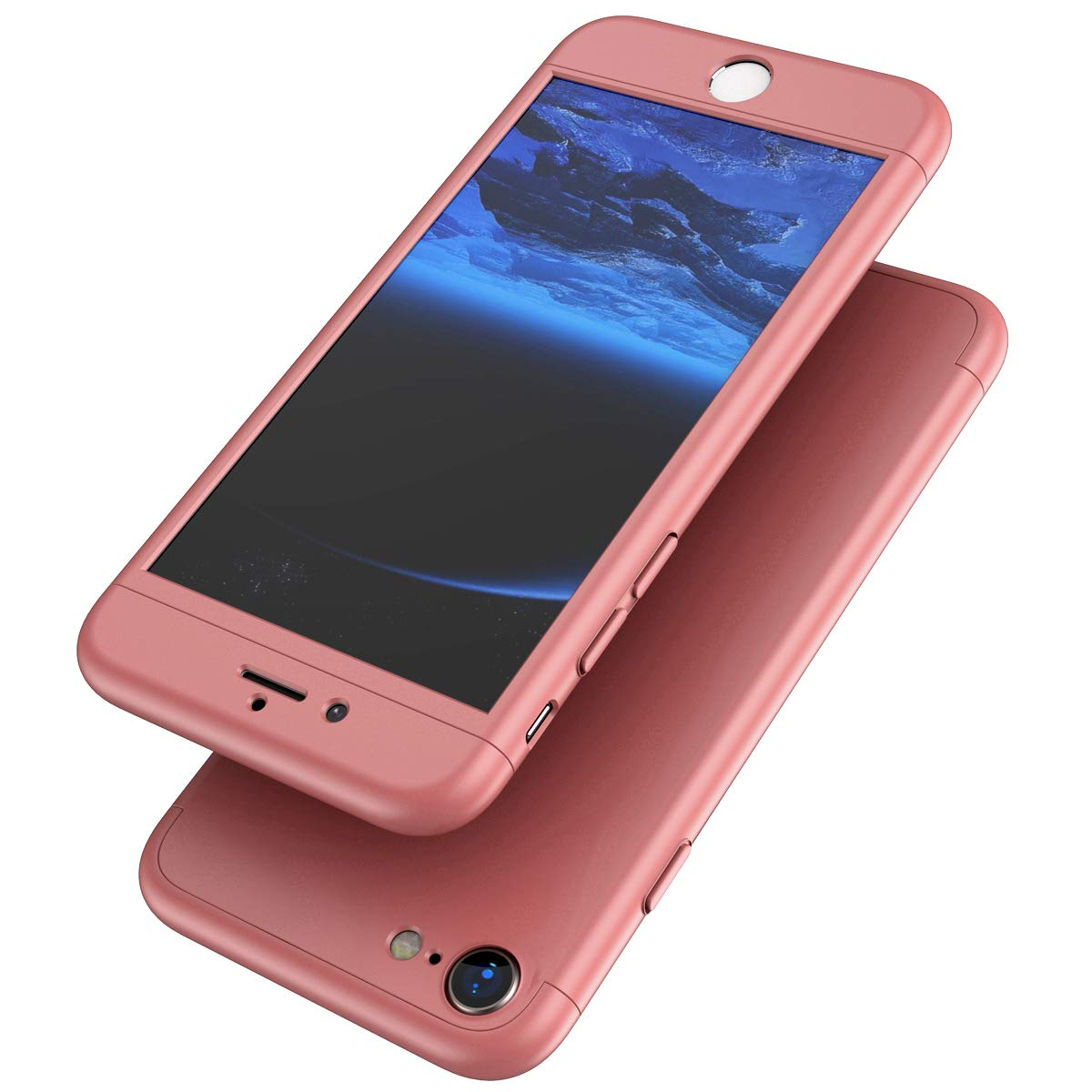 Surakey iPhone 7//8 Case Bulletproof Glass 3 in 1 PC Hardcase Hard Case Full Body Case Cover Protective Case Hybrid Phone Case Compatible with iPhone 7//8,Rosegold 360 Degree Cover Full Cover