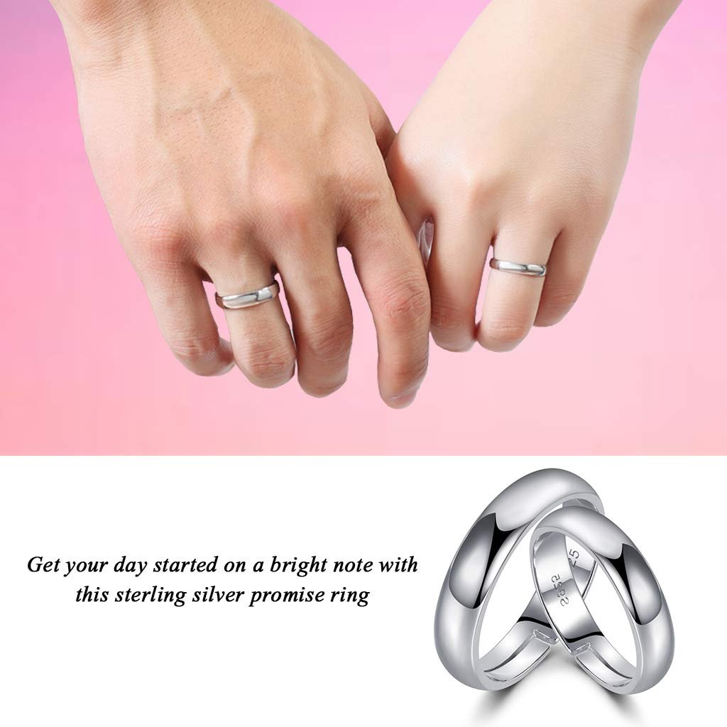 LYTOPTOP 925 Sterling Silver Thumb Rings Promise Rings For Couple ...