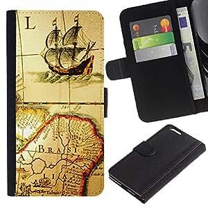 KingStore / Leather Etui en cuir / Apple Iphone 6 PLUS 5.5 / Antiguo mapa de Viejo Barco Brasil Continente Vela