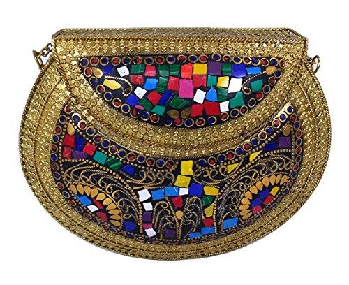 Batu Lee Handmade Antique Metal Work Clutch Purse Wallet hard Handbag with Golden Chain Multi Elipse Shape for Women/Girls