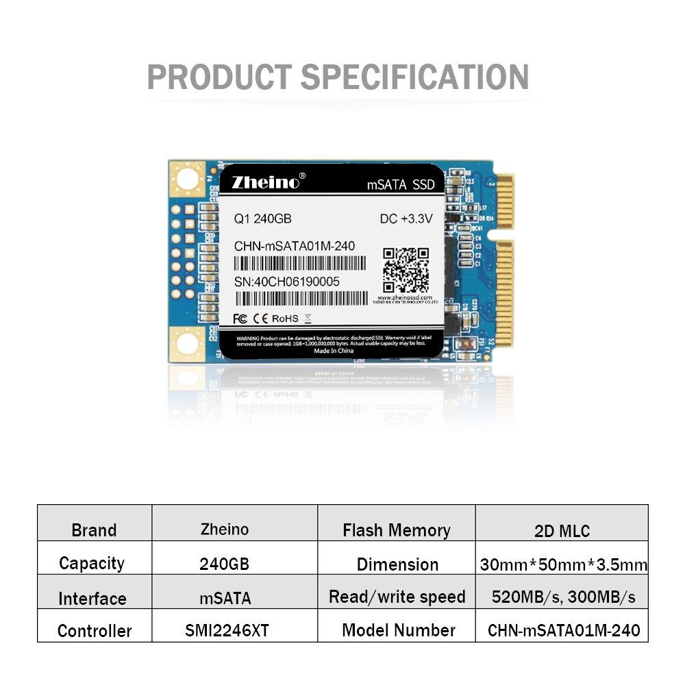 Zheino Q1 mSATA SSD de 240 GB (30 * 50 mm) Interno mSATA Memoria mSATA 2D MLC Disco Duro Unidad de Estado Sólido Para Mini PC Tablet PC: Amazon.es: ...