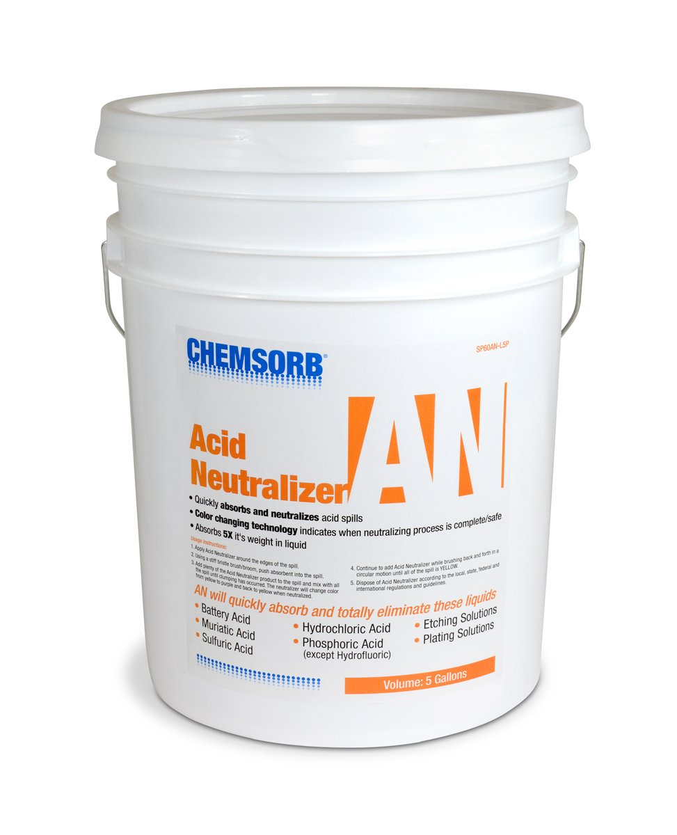 Chemsorb AN - Acid Neutralizing Absorbent, 5 Gal. Pail, SP60AN-L5P, Fast-Acting Acid Neutralizer Absorbent Spill Response, Safe Color Changing Technology, Silica Free Neutralizer, Laboratories