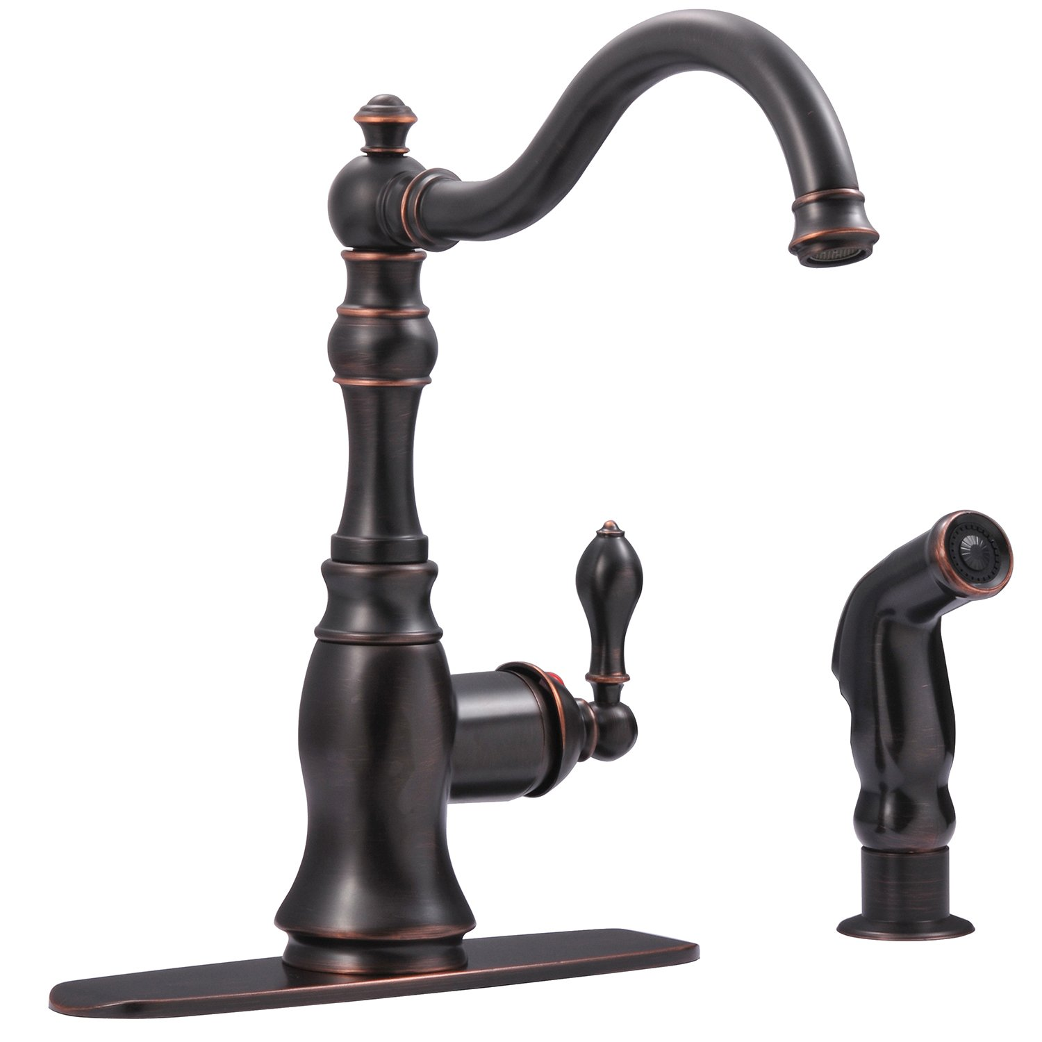 Ultra Faucets UF11245 Signature Collection Single-Handle Kitchen Faucet with Side-Spray, Oil Rubbed Bronze by Ultra Faucets