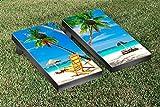 Sunny Beach Scene Cornhole Game Set