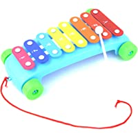 Vivir 2 in 1 Xylophone with Pull Along Toys for Kids Xylophone for Kids (Blue)