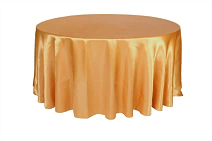 Your Chair Covers   120 Inch Round Satin Tablecloths Gold, Round Table  Linens For 5