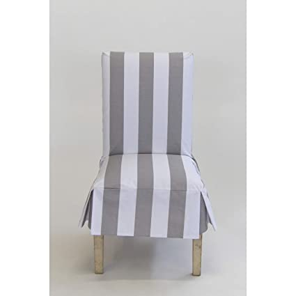 Classic Slipcovers Cabana Stripe Short Dining Chair Covers Set of 2 Grey  and White Stripe