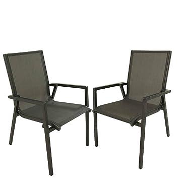 Pack 2 sillones jardín Aluminio Antracita y textilene ...