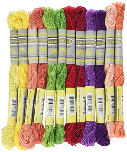 Sullivans Size 5 Pearl Cotton Pack (12 Pack), 15 yd, Fruit Fun (Pearl 5 Thread Cotton)