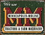 Minneapolis Moline Logo Tractors Farm Machinery Distressed Retro Vintage Tin Sign by Poster Revolution