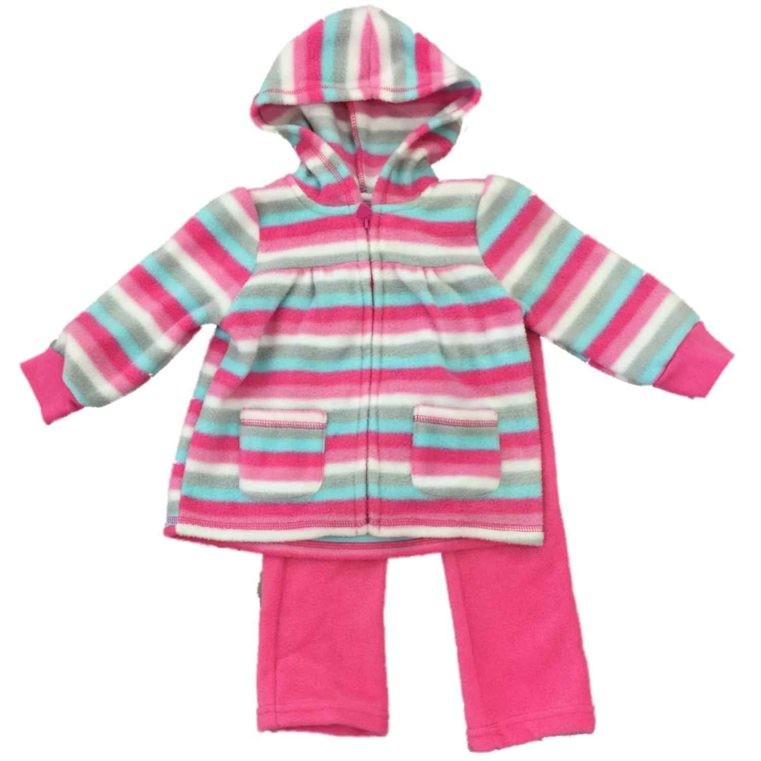 Amazon.com  Youngland Infant Toddler Pink Blue White   Gray Stripe Girls  Fleece Sweatsuit Outfit 18M  Clothing 50967fe6d653