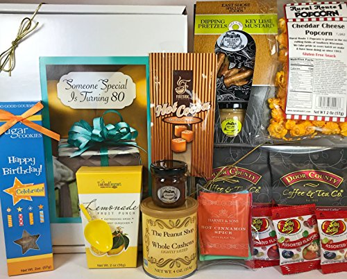 Happy 80th Birthday Gift Box Basket - Send Gourmet Coffees, Teas, Pretzels, Mustard, Fudge Sauce, Cookies, Hot Cocoa, Candy, Popcorn, and Nuts - Prime Happy Birthday 80 Men Women (Gift Basket For 80th Birthday)