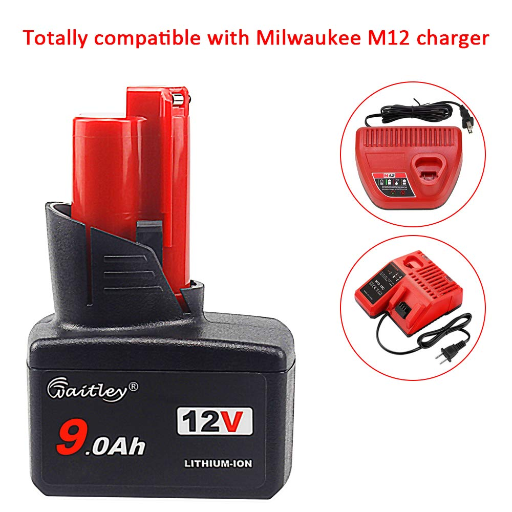 Upgraded 12V 9.0Ah Lithium Battery for Milwaukee M12 48-11-2410 48-11-2420 New
