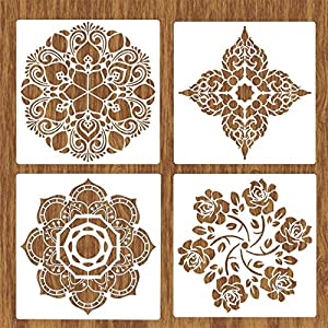 BAISDY 4Pcs Large Reusable Wall Stencil for Painting on Floor Furniture Wood Tile Fabric, 12X12 Inch