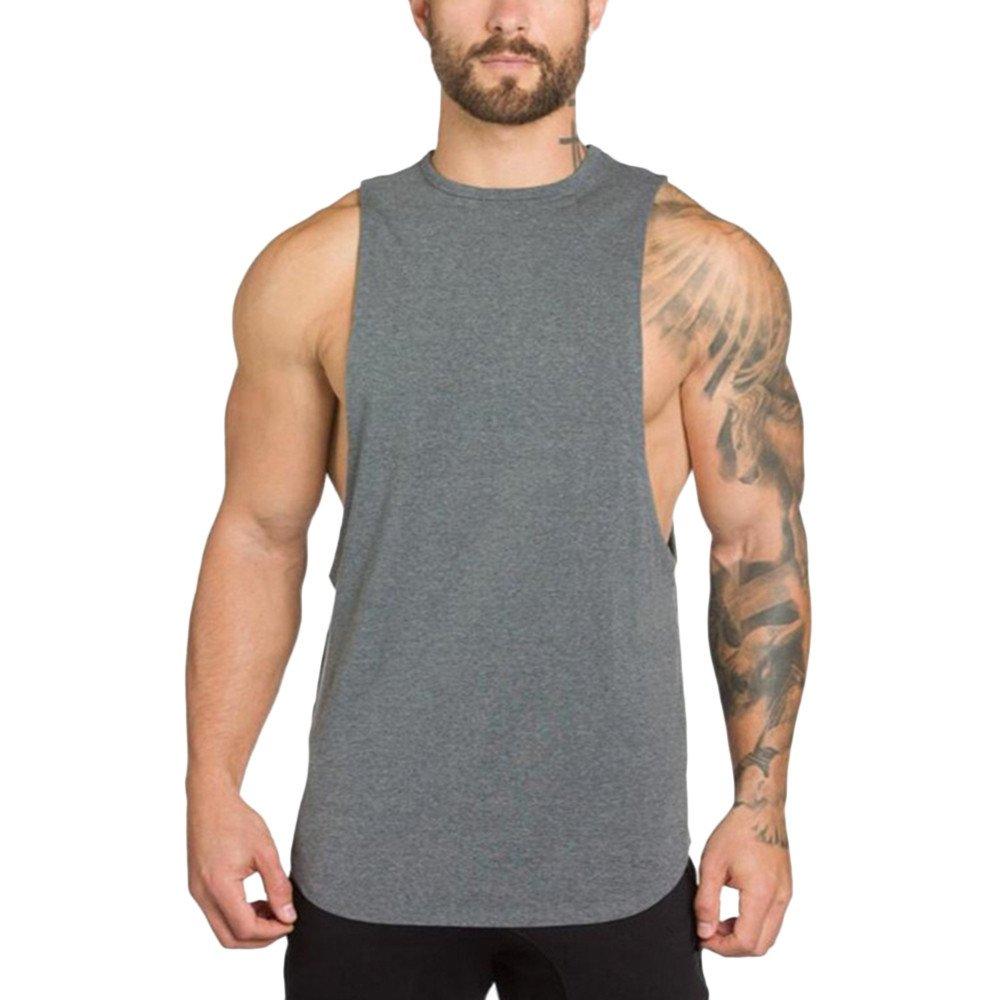 MODOQO Men's Tank Tops Fitness Sleeveless Cotton O-Neck T-Shirt Gym Vest(Grey,L) by MODOQO (Image #1)
