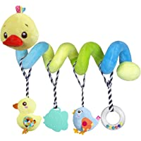 Car seat Toys, Baby Activity Spiral Plush Toys for Stroller bar Accessories, Crib Toys with Bell for boy or Girl, Hangings Rattle Toy with Squeaky