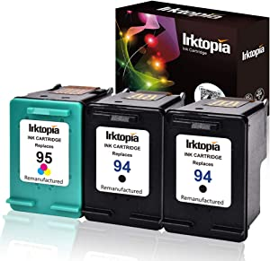 Inktopia 94 95 Remanufactured Ink Cartridge Replacement for HP 94 and HP 95 C9354BN C8765WN C8766WN (2 Black, 1 Tri-Color) 3 Pack