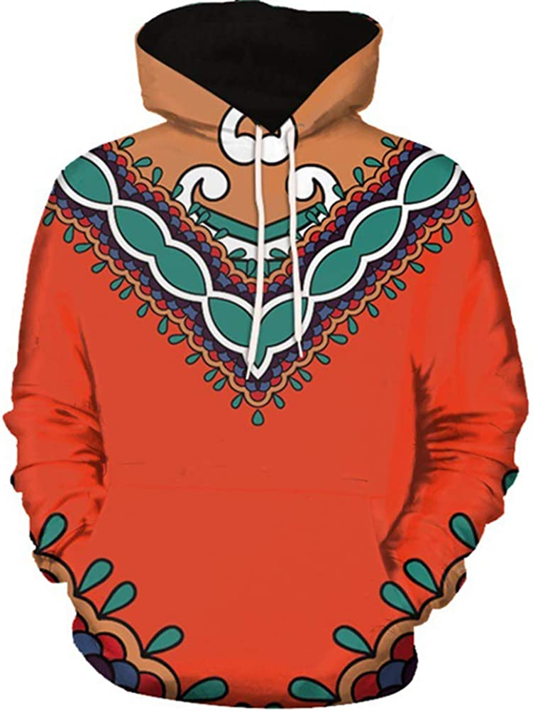 Skyyeox Unisex African Digital Printing Dashiki Tribal Long Sleeve Hoodie Sweatshirt