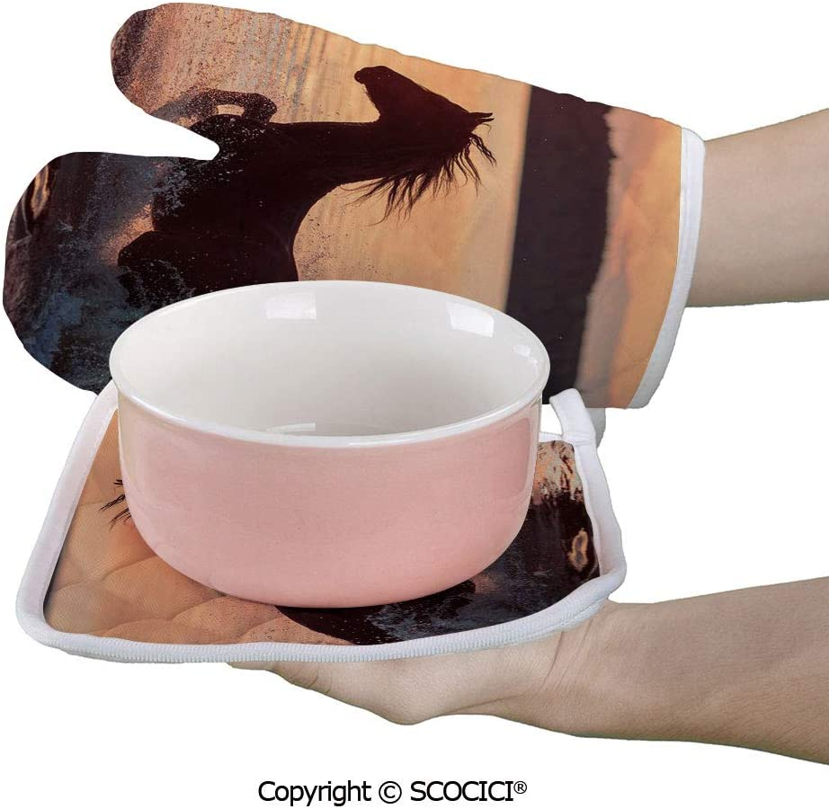 SCOCICI Baking Anti-Hot Glove Horse Sea at Sunset Time Horizon Speed Exotic Nature Animal Picture Oven Microwave Mitts Pot with Square Mat
