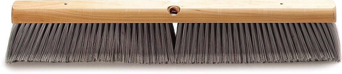 Carlisle 4501423 Flo-Pac Flagged Fine Floor Sweep, Polypropylene Bristles, 24'' Block Size, 3'' Bristle Trim, Gray (Case of 12)