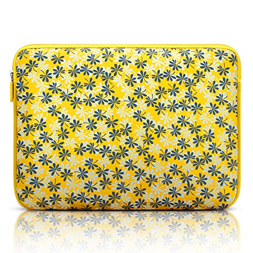 Arvok 13-14 Inch Laptop Sleeve Multi-Color & Size Choices Case/Water-Resistant Neoprene Notebook Computer Pocket Tablet Carrying Bag Cover, Yellow with Flower