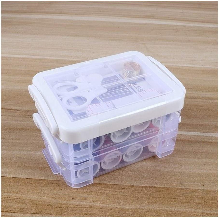 Carrete 32pcs / Set multifunción Caja de Costura Kit de Agujas de Cinta de Tijera Hilos de Coser Caja de Regalos de Boda en Casa y Viajar Serie (Color : White)