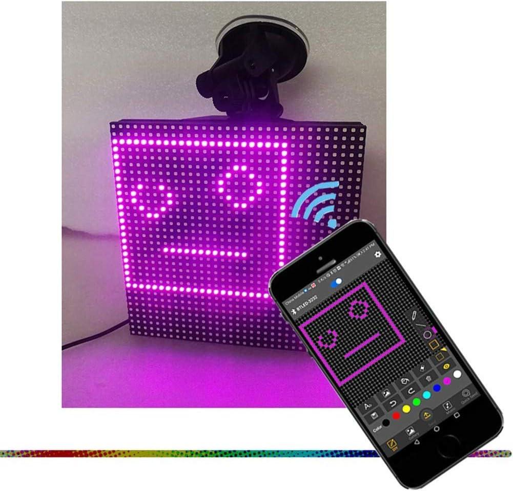 Qishun Kontrollierte Emoji Auto-Anzeige Smiley Emoji LED Auto-Anzeigen-Zeichen-Schirm Bluetooth Steuerung f/ür iOS//Android