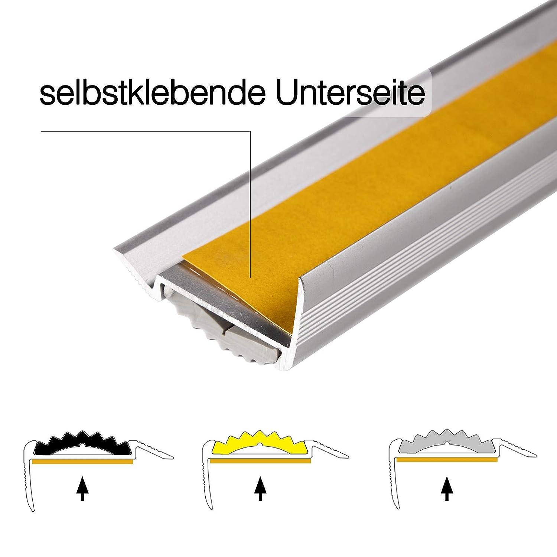 rutschhemmende Gummi-Einlage Treppenwinkel Profil in 3 Farben /& L/ängen unsichtbare Montage: selbstklebend//vorgebohrt vorgebohrt, schwarz, 134 cm Alu Treppenkantenprofil Power Grip