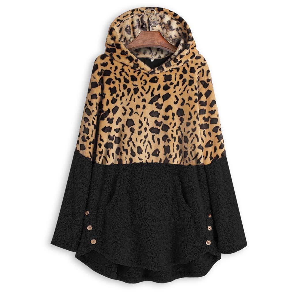 Womens Long Coats Jackets Hooded Leopard Print Patchwork Fleece Lined Loose Warm Padded Parka Plus Size HebeTop by ▶HebeTop◄➟HOT SALES