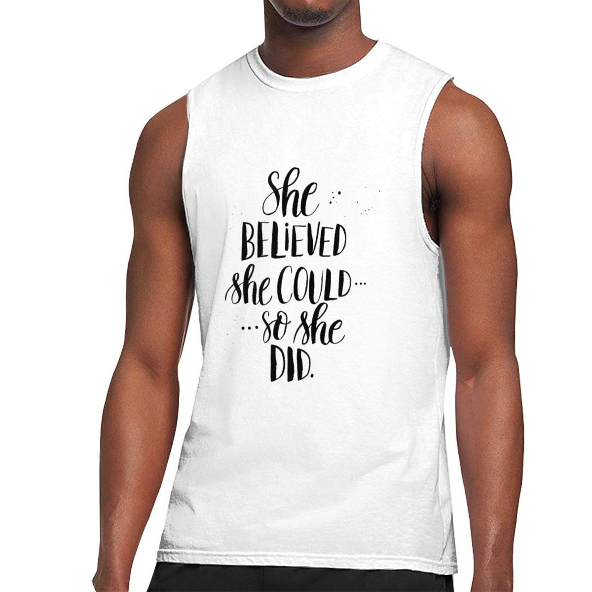 Seuriamin She Believed She Could So She Did S Humor Gym Sleeveless Muscle Short Sleeve Shi