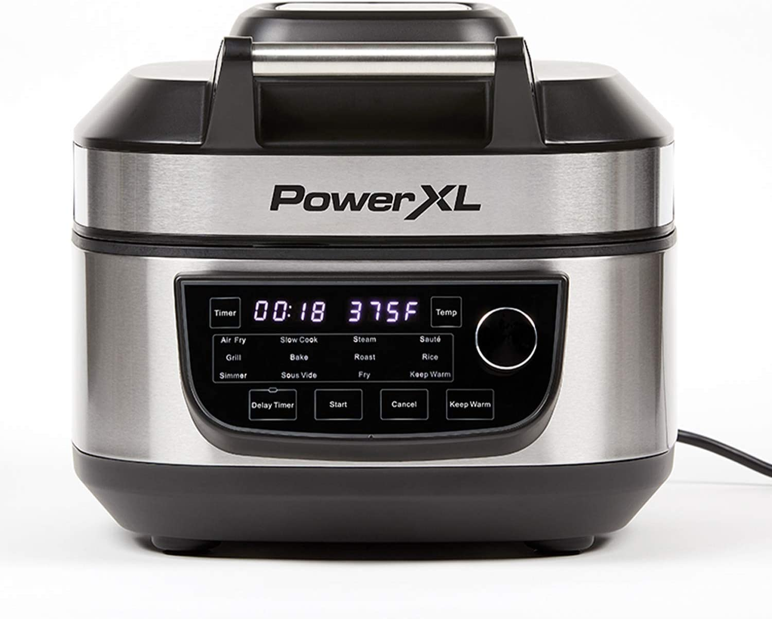 PowerXL Grill Air Fryer Combo 12-in-1 Indoor Grill, Air Fryer, Slow Cooker, Roast, Bake, 1550-Watts, Stainless Steel Finish (Renewed)