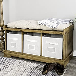 WE Furniture 42″ Wood Storage Bench with Totes & Cushion, Driftwood