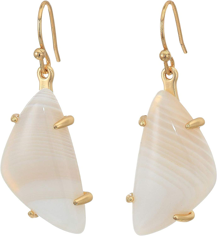 Lucky Brand Jewelry - Pendientes de lágrima con piedra de ágata blanca, color dorado