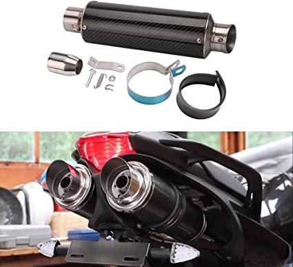 PACEWALKER Motorcycle Exhaust Universal Muffler Compatible Universal Motorcycle Modified Real Bright Carbon Fiber Exhaust Muffler Pipe with Killer