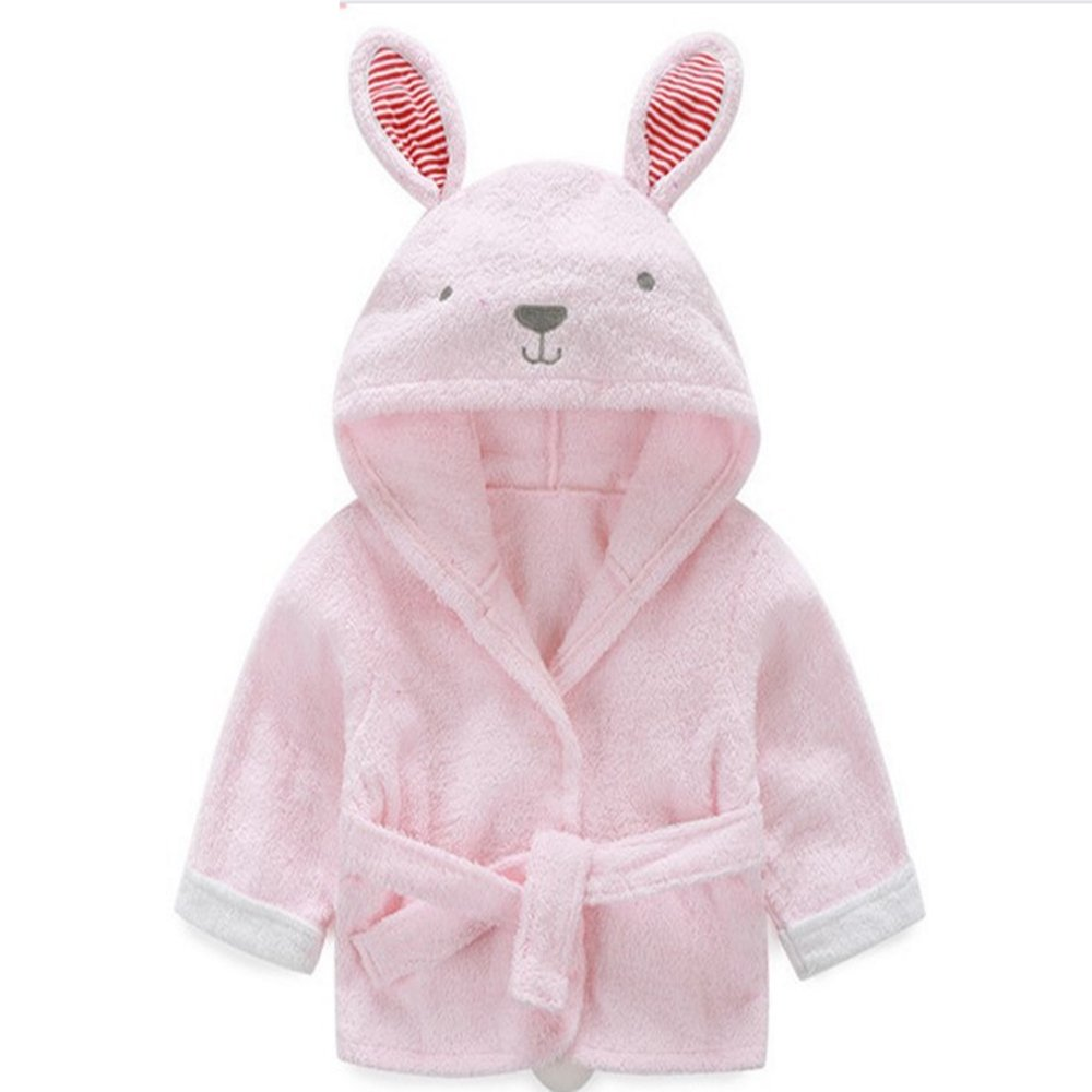 XDOBO Cartoon Cotton Animal Baby Bath Towel Bath Gown Bathrobe Pajamas Beach Towel Baby Cloak 6-18 Months Pink Rabbit