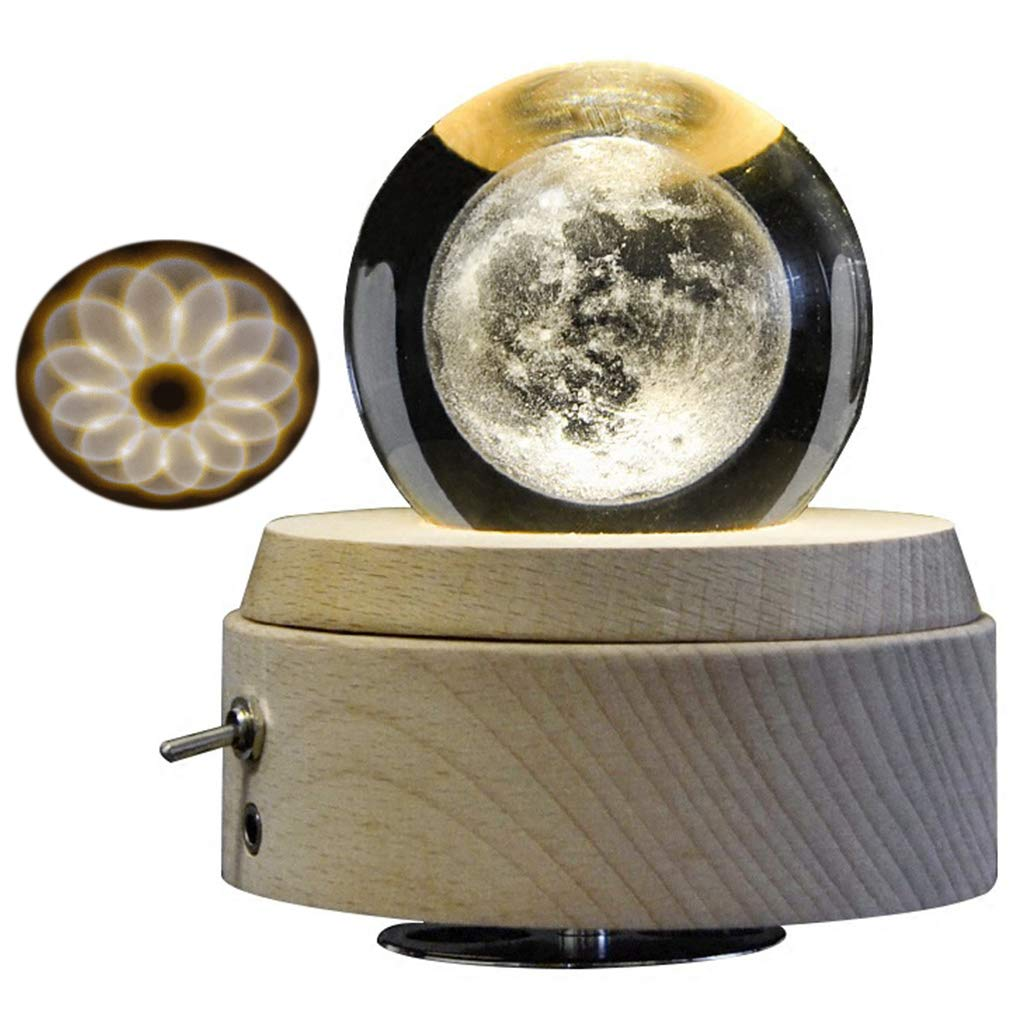 Amperer 3D Crystal Ball Music Box The Moon Luminous Rotating Musical Box with Projection LED Light and Wood Base Best Gift for Birthday Christmas (A2 Moon)