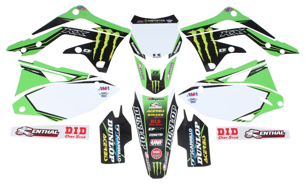 D'cor Visuals 20-20-728 Complete Kit (16 Monster Kawasaki Kx F 450 13-15 White Bg), 1 Pack