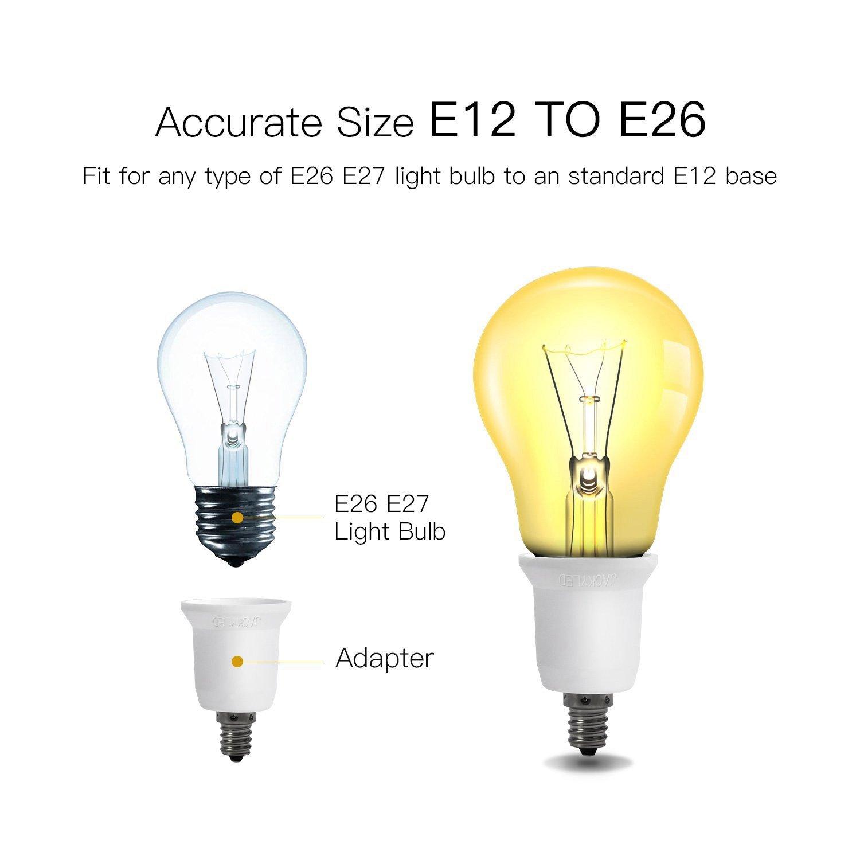 JACKYLED 10-Pack E12 to E26 E27 Adapter Chandelier Light Socket E12 to Medium Socket E26 E27 Converter Bulb Base Adapter Converter E12DZx10