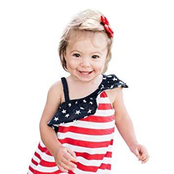 f9b735b74e1 Amazon.com  FEITONG Baby Girls Infant Kids Star Striped American Flag  Printed Off Shoulder Dress 4th Of July Clothes Sundress Casual Dresses  (Red