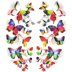 JYPHM 24PCS 3D Butterfly Wall Decal Double Wings Removable Refrigerator Magnets Stickers Decor for Kids Room Decoration Home and Bedroom Art Mural Rainbow