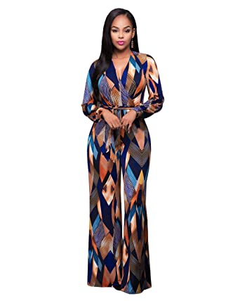 ca4227fd8a89 Otsale Womens Floral Print Deep V Neck Wide Legs Long Pants Jumpsuit Romper  w belt