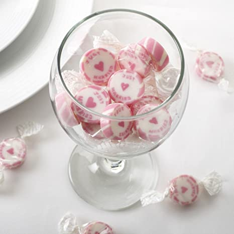 Caramelos de boda con texto Just Married rosa 50 unidades –