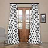 Cheap HPD HALF PRICE DRAPES PTFFLK-C35C-108 Pinnacle Flocked Faux Silk Curtain, White & Black, 50 x 108