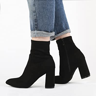 61d6d56427bf Amazon.com | Public Desire Womens Raya Pointed Toe Ankle Boots Sock Fit Block  Heel Shoes Black Faux Suede UK 8 / EU 41 / US 10 | Shoes