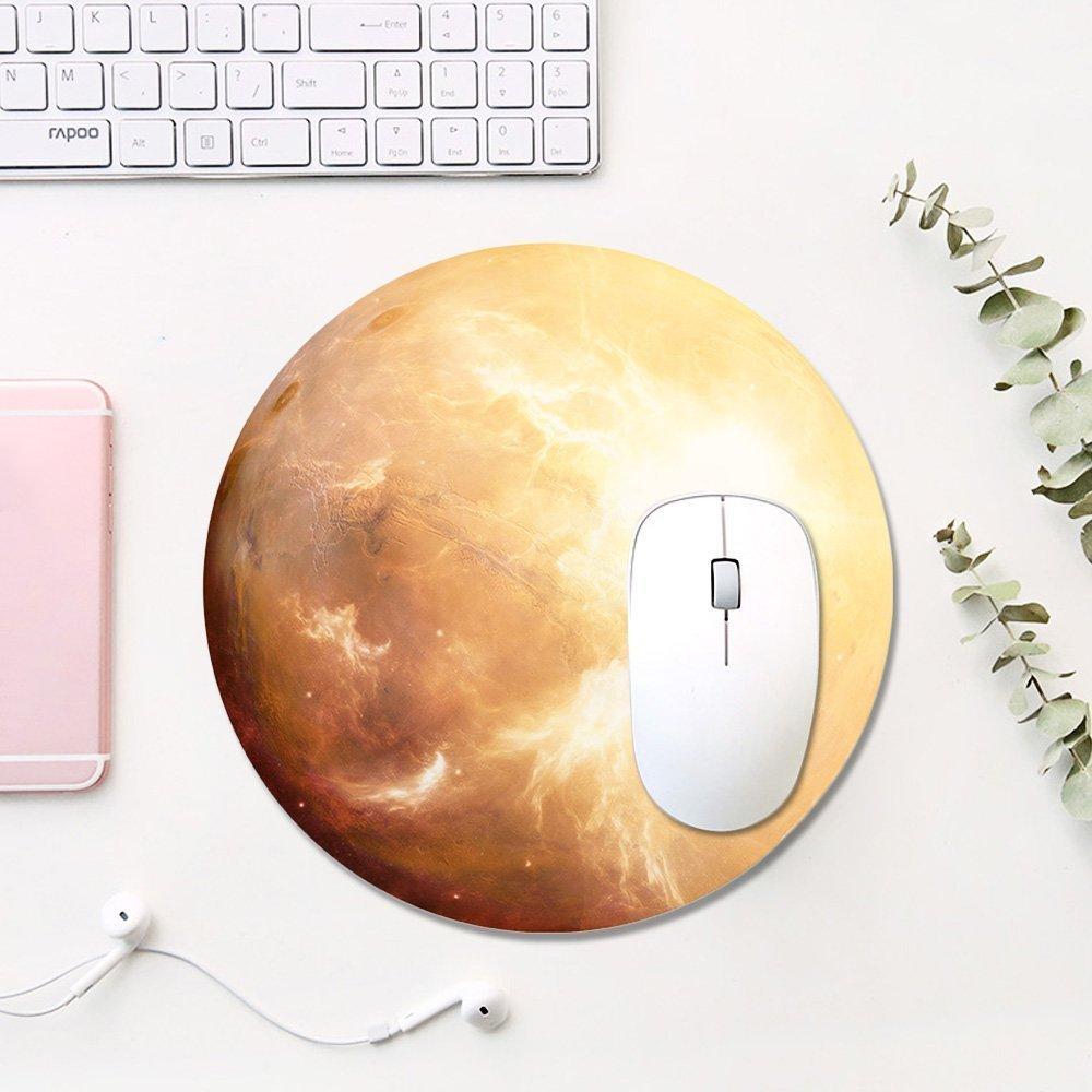 Mond Gaming Mauspad,KINGCOO Office und Gaming Mauspad//Mousepad Runde Mousemat Mausunterlage mit Rutschfestem Gummi Mousepad